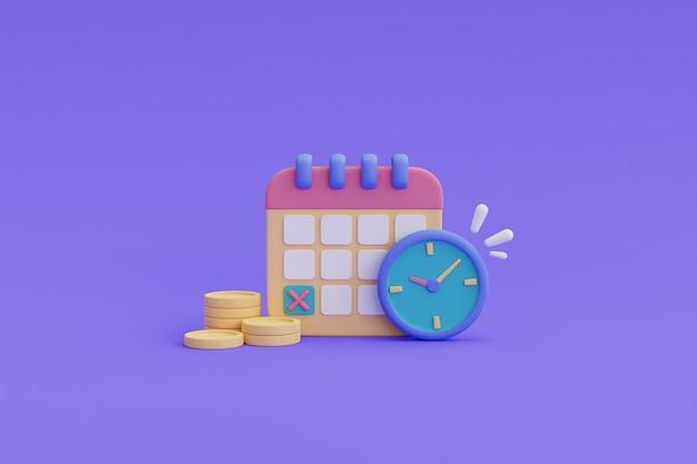 時間はお金の概念、お金の時間価値、支払い期限です。3dレンダリング。