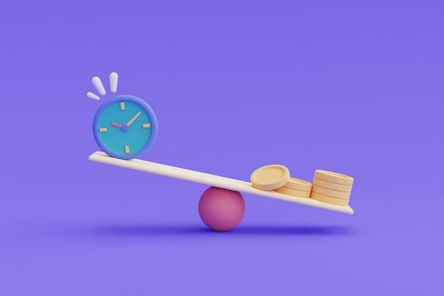時間はお金の概念、お金の時間価値、時間の節約、お金の節約、時間管理、3dレンダリングです。