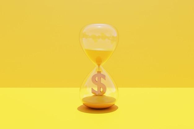 시간은 모래 시계와 함께 돈 개념입니다. 3d 렌더링.