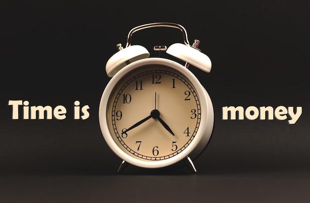 時は金なりのインスピレーションと動機付けのコンセプト写真、テキストと目覚まし時計、黒い背景、バナー、コピースペースの構成