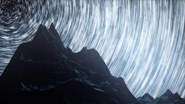 A time lapse of a starry night with a shadow of mountains