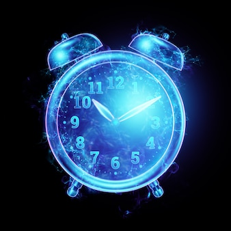 Time management concept, hologram alarm clock image. 3d illustration, 3d render. copy space.