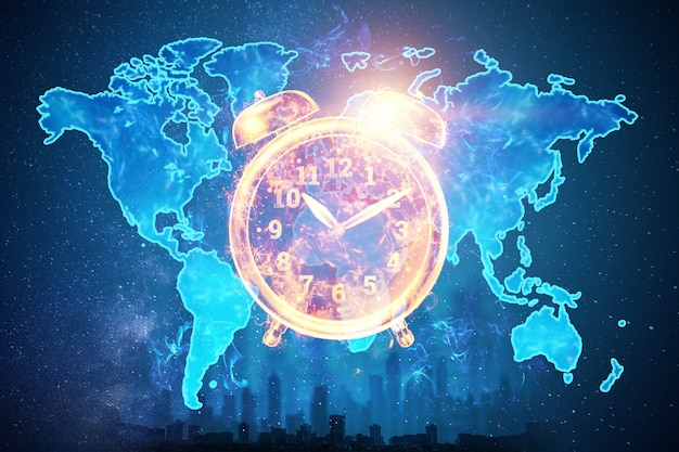Time management concept, image of an alarm clock on the background of the earth map hologram. 3d illustration, 3d render. copy space.