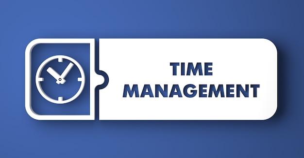 시간 관리 개념. 평면 디자인 스타일에 파란색 배경에 흰색 버튼.