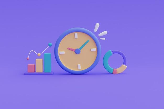 時計とgraph.3dレンダリングによる時間管理の概念。