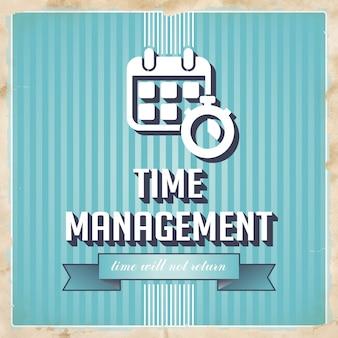 파란색 줄무늬의 시간 관리. 평면 디자인의 빈티지 개념입니다.