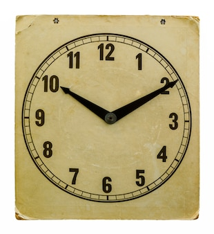Time on old wall paper clock. isolated from background