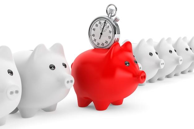 Концепция экономии времени. красная копилка с секундомером на белом фоне