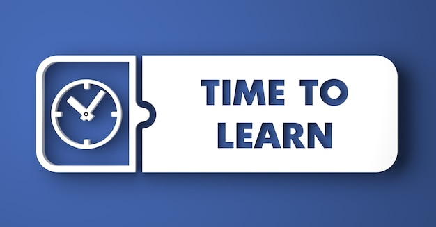개념을 배울 시간입니다. 평면 디자인 스타일에 파란색 배경에 흰색 버튼.