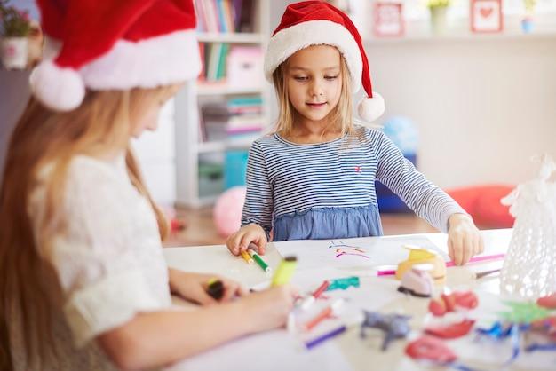 クリスマスの絵を描く時間