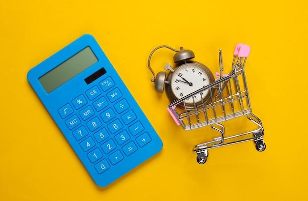 쇼핑 시간 계산기, 노란색에 알람 시계와 함께 슈퍼마켓 트롤리