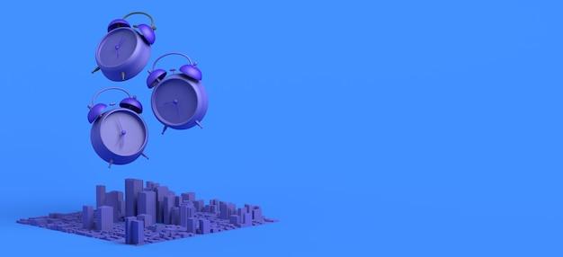 출근하기 위해 일어나야 할 시간. 도시와 알람 시계 개념입니다. 배너. 3d 그림입니다.