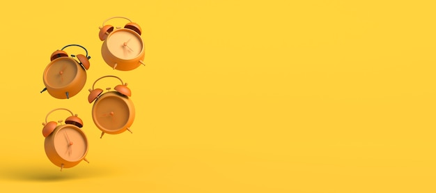 Time to wake up. concept of alarm clocks floating with different times. banner. 3d illustration.