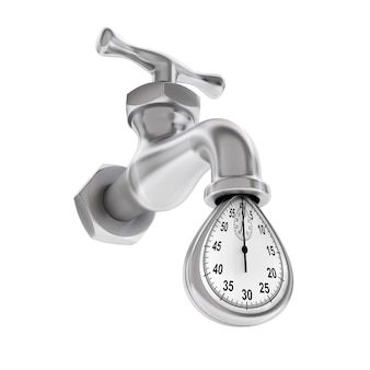 Time waste concept. water tap with falling drop of stopwatch on a white background. 3d rendering