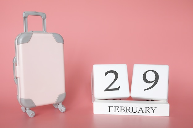 Time for a winter holiday or travel, vacation calendar for february 29