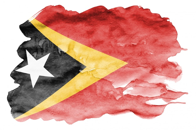 Timor leste flag is depicted in liquid watercolor style isolated on white