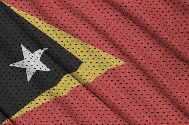 Timor leste flag printed on a polyester nylon mesh