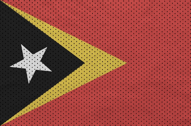 Timor leste flag printed on a polyester nylon sportswear mesh fabric
