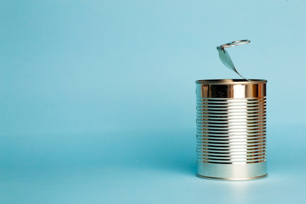 Tin can on a blue background.
