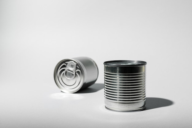 Tin can for food on gray background