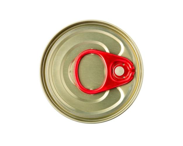 ブリキ缶は白い背景で隔離できます。上面図。