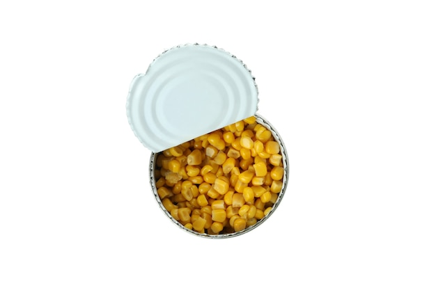 Tin of canned corn isolated on white wall