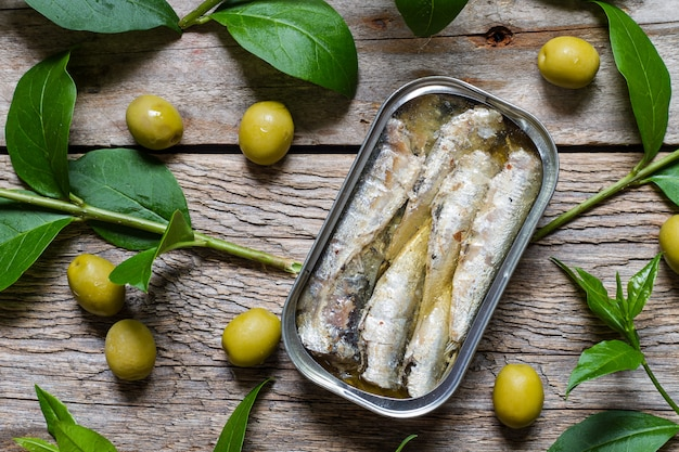 Tin of sardines in olive oil