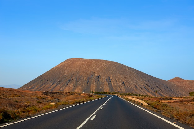 Tindaya road with mountain fuerteventura