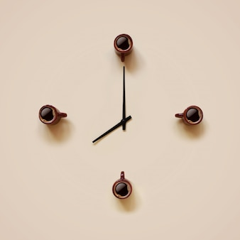 Tiny brown cups with coffee and black indicators placing like clock face