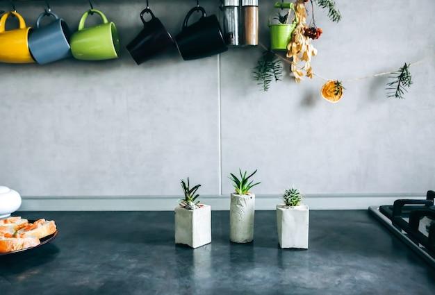 キッチンのコンクリート植物ホルダーの小さな多肉植物。さまざまな形の手作りの花瓶に収められた小さなサボテンと苔。スタイリッシュで環境にやさしいプランター。