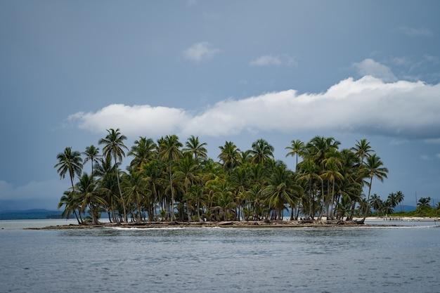Крошечный тропический необитаемый остров с кокосовыми пальмами и концепцией путешествий и приключений