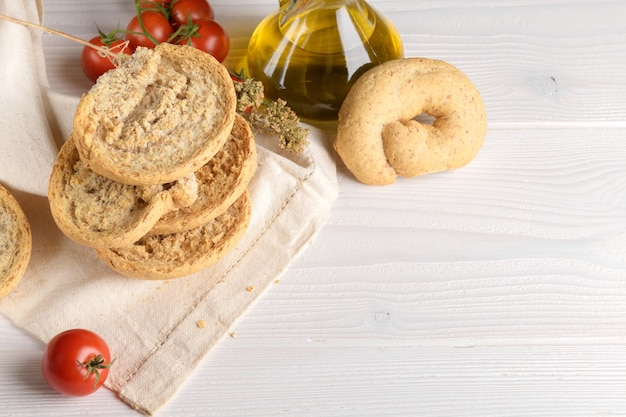 Tipical bakery of puglia dry bread called friselle