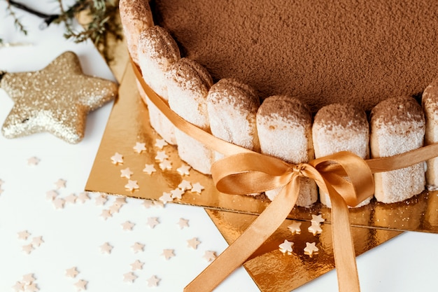 Tiramisu cake close-up.