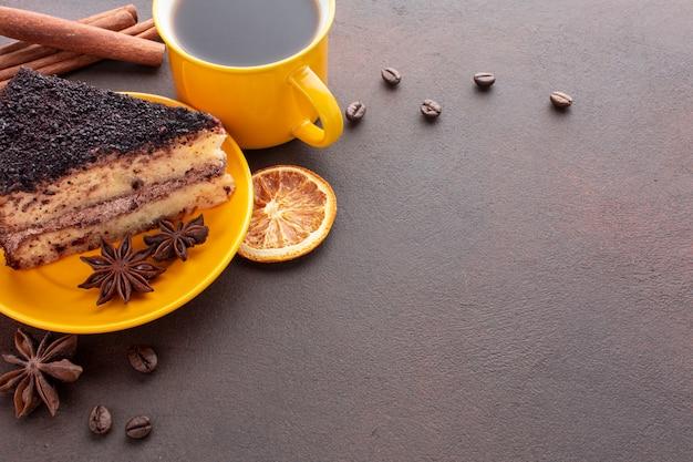 Tiramisu and coffee copy space