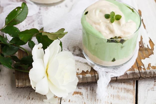 Tiramisu in a glass of tea match