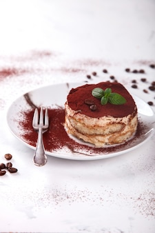 Tiramisu, traditional italian dessert on a white plate