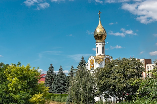 Tiraspol, moldova 06.09.2021.  chapel of st. george the victorious in tiraspol, transnistria or moldova, on a sunny summer day