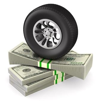 空白のタイヤとお金