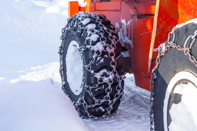 Tire machines for snow removal on kamchatka