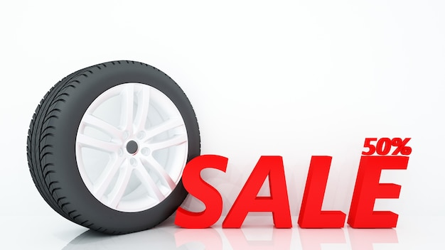 Tire and text sale 50 % - 3d rendering and background white decoration