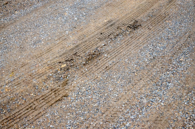 Tire track on dirt road