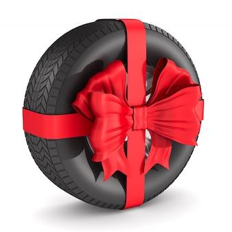 白いスペースに赤い弓のタイヤ