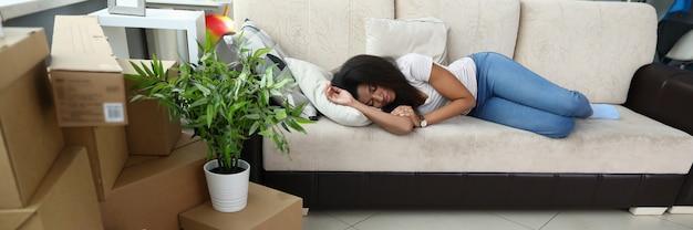 Tired african-american lady taking break