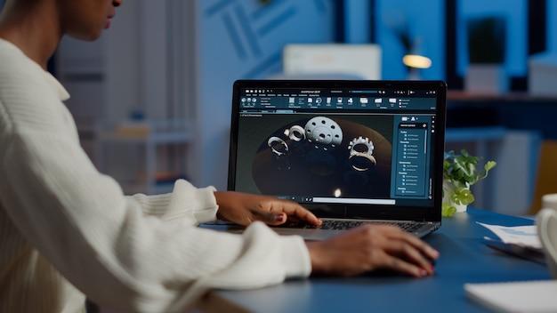 산업 제품 3d 모델의 새로운 프로토 타입을 분석하는 피곤한 디자이너 엔지니어, 초과 근무