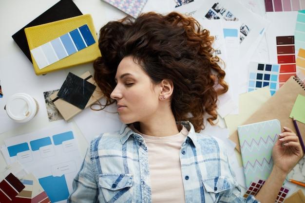 Tired designer woman