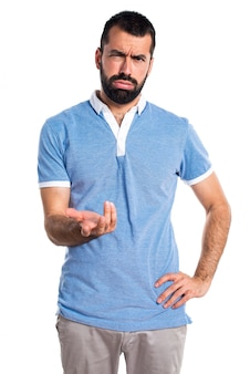Tired man with blue shirt