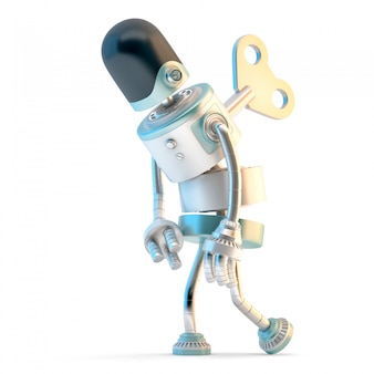 Tired robot with wind-up key sticking into his back