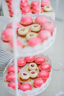 Tired white dish with pink macaroons and delicious white cakes