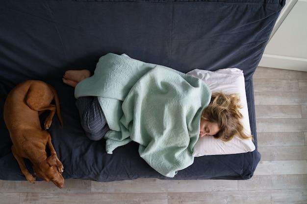 Усталая женщина спит на диване рядом с успокаивающей собакой, вид сверху одинокая или разведенная женщина страдает депрессией