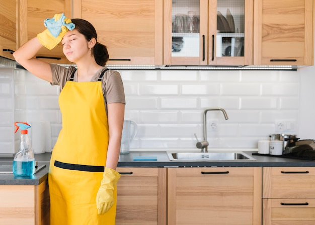Tired woman with apron
